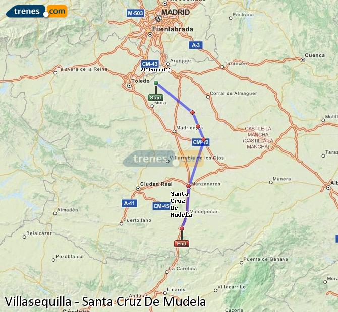 Enlarge map Trains Villasequilla to Santa Cruz De Mudela