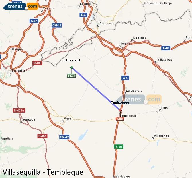 Karte vergrößern Züge Villasequilla Tembleque