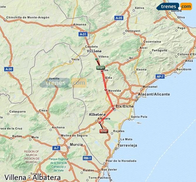 Agrandir la carte Trains Villena Albatera