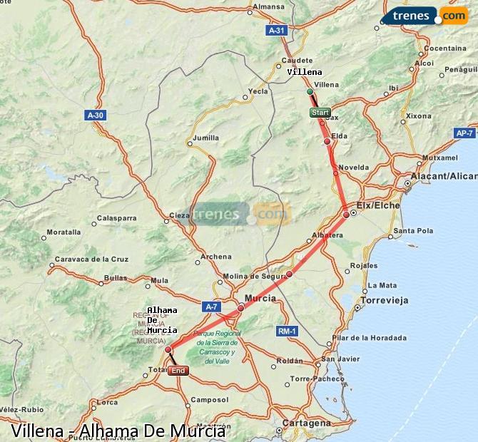 Enlarge map Trains Villena to Alhama De Murcia