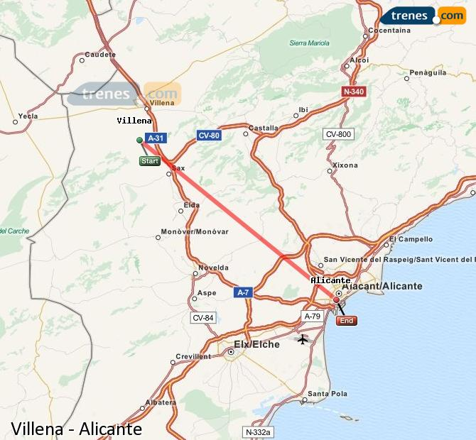 Enlarge map Trains Villena to Alicante