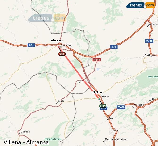 Enlarge map Trains Villena to Almansa