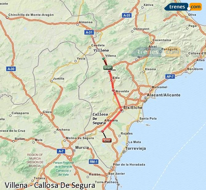 Enlarge map Trains Villena to Callosa De Segura