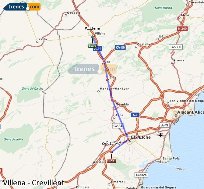 Enlarge map Trains Villena to Crevillent