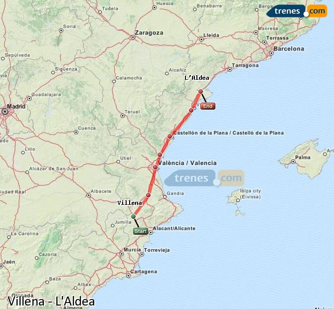 Ampliar mapa Comboios Villena L'Aldea