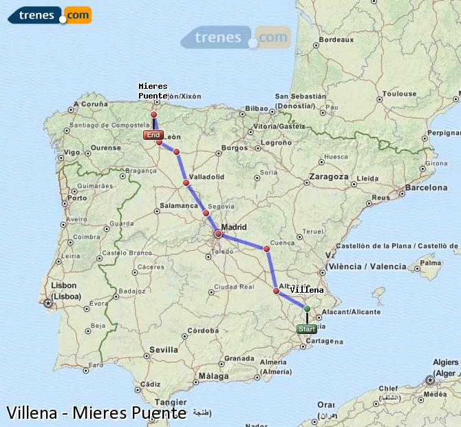Enlarge map Trains Villena to Mieres Puente