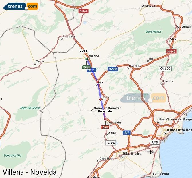 Ampliar mapa Comboios Villena Novelda