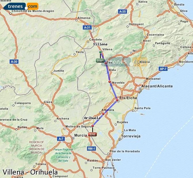 Karte vergrößern Züge Villena Orihuela