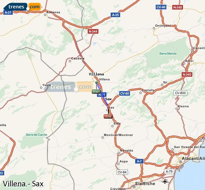 Enlarge map Trains Villena to Sax