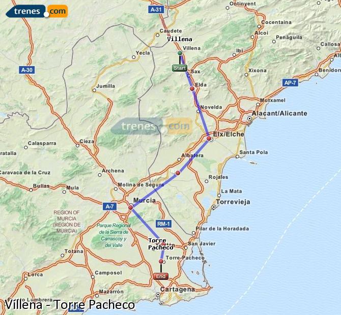 Agrandir la carte Trains Villena Torre Pacheco
