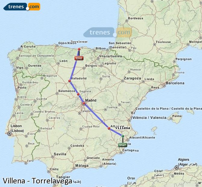 Karte vergrößern Züge Villena Torrelavega
