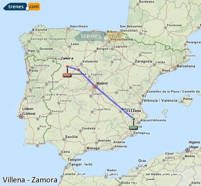 Enlarge map Trains Villena to Zamora
