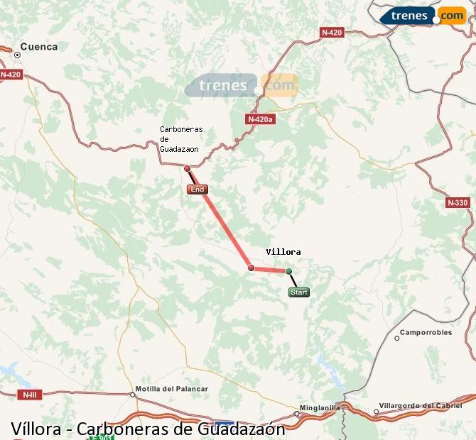 Enlarge map Trains Víllora to Carboneras of Guadazaón
