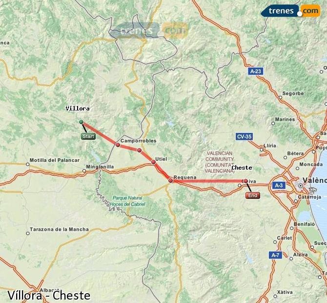 Ampliar mapa Comboios Víllora Cheste