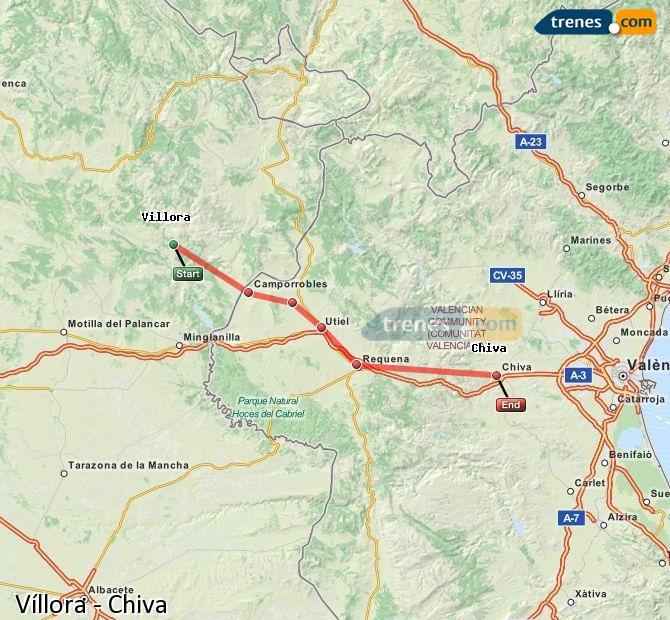 Agrandir la carte Trains Víllora Chiva