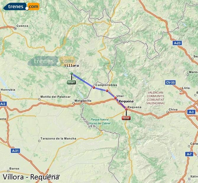 Ingrandisci la mappa Treni Víllora Requena