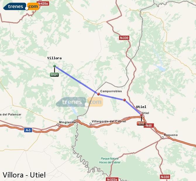 Ampliar mapa Comboios Víllora Utiel