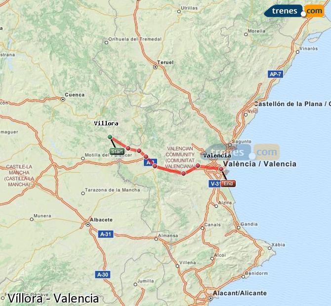 Karte vergrößern Züge Víllora Valencia