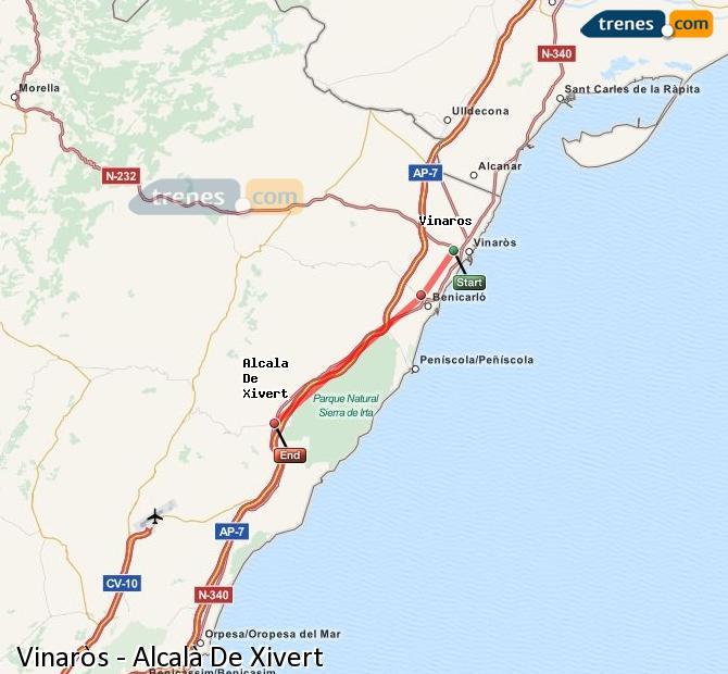 Ampliar mapa Trenes Vinaròs Alcalà De Xivert