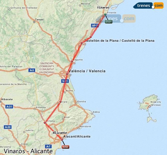 Karte vergrößern Züge Vinaròs Alicante