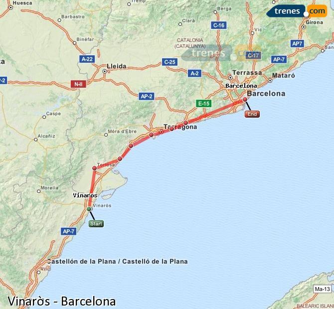 Agrandir la carte Trains Vinaròs Barcelone