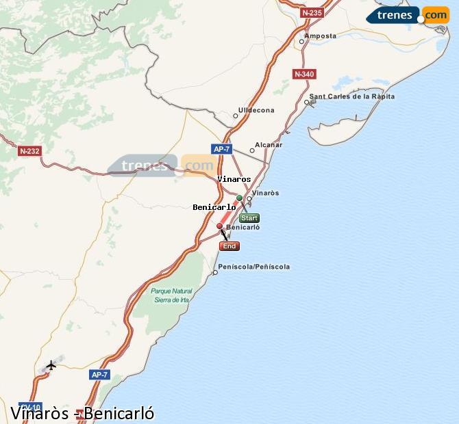Enlarge map Trains Vinaròs to Benicarló