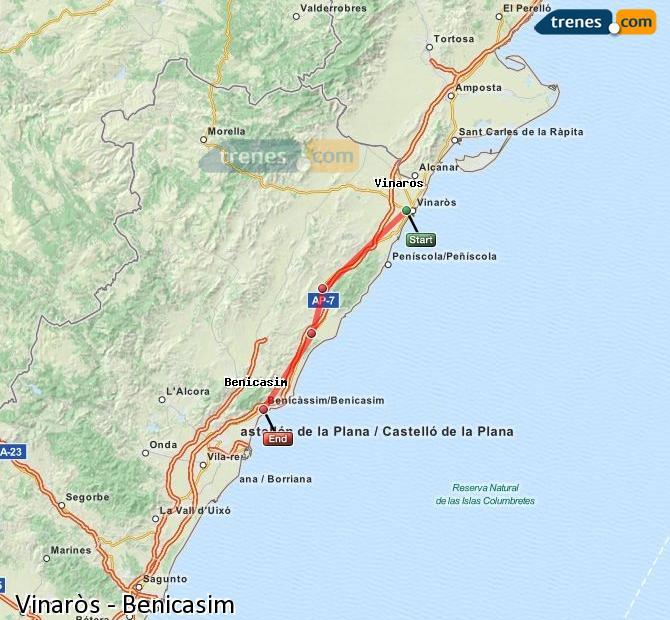 Ingrandisci la mappa Treni Vinaròs Benicasim