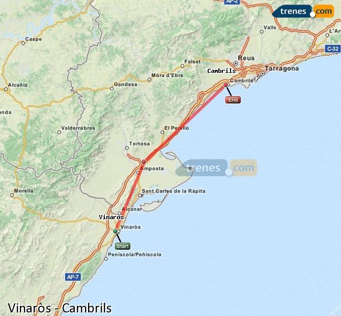 Karte vergrößern Züge Vinaròs Cambrils