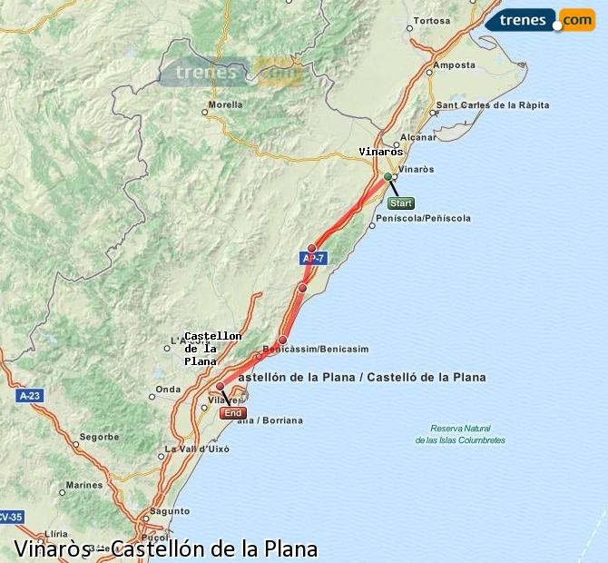 Enlarge map Trains Vinaròs to Castellón