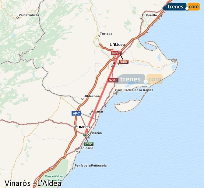 Enlarge map Trains Vinaròs to L'Aldea