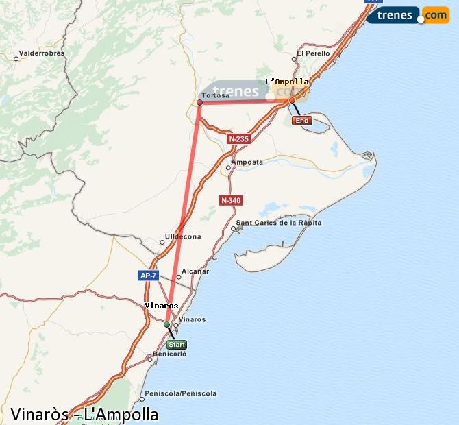 Karte vergrößern Züge Vinaròs L'Ampolla