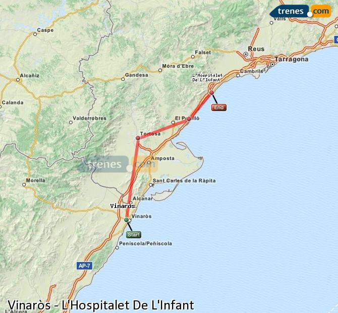 Ingrandisci la mappa Treni Vinaròs L'Hospitalet De L'Infant