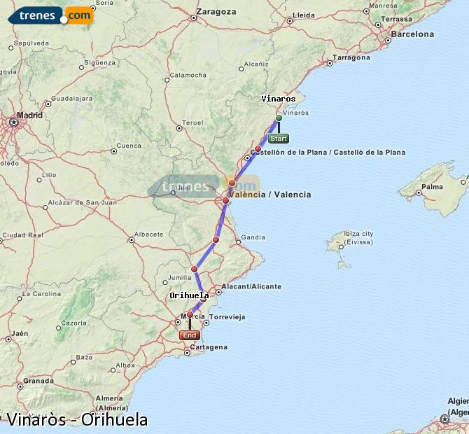 Ampliar mapa Comboios Vinaròs Orihuela