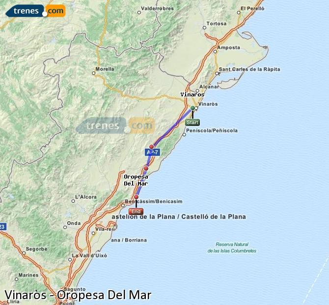 Enlarge map Trains Vinaròs to Oropesa Del Mar