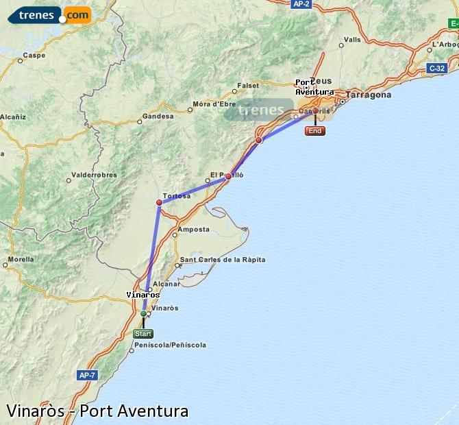 Ingrandisci la mappa Treni Vinaròs Port Aventura