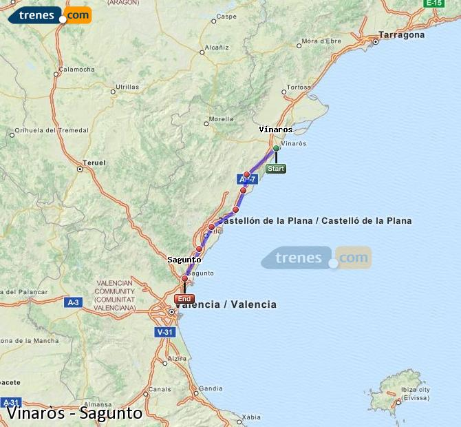 Enlarge map Trains Vinaròs to Sagunto