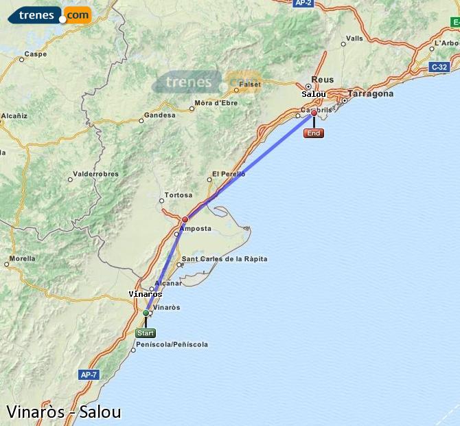 Ampliar mapa Trenes Vinaròs Salou