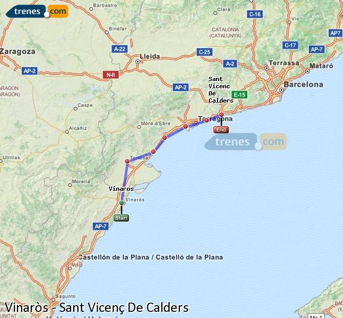 Enlarge map Trains Vinaròs to Sant Vicenç De Calders