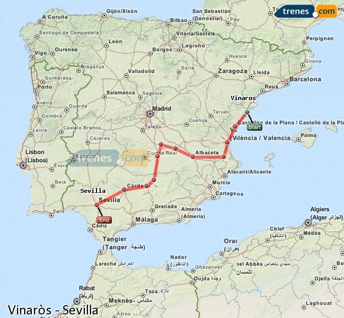 Karte vergrößern Züge Vinaròs Sevilla