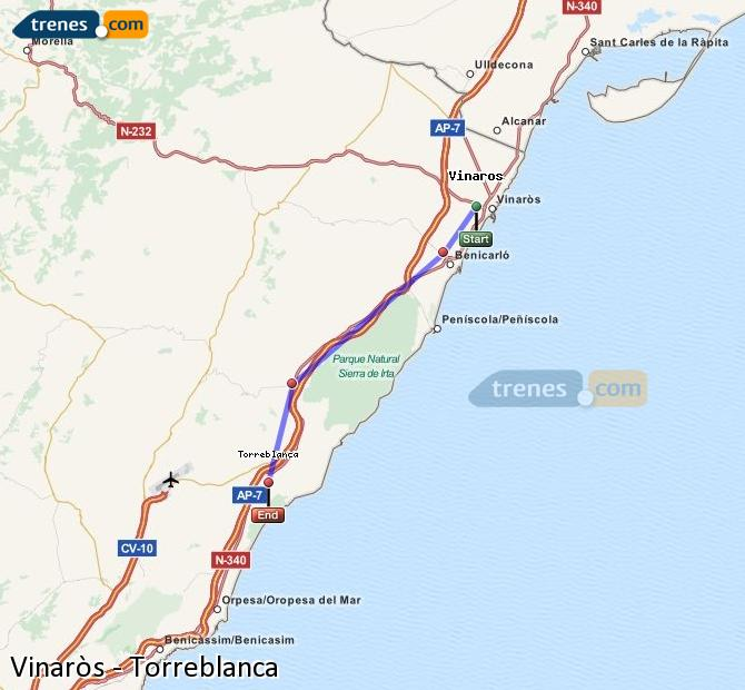 Enlarge map Trains Vinaròs to Torreblanca