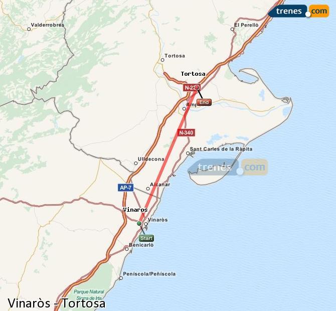 Ampliar mapa Comboios Vinaròs Tortosa