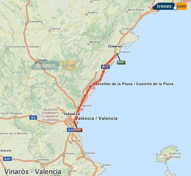Enlarge map Trains Vinaròs to Valencia
