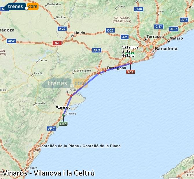 Ampliar mapa Comboios Vinaròs Vilanova i la Geltrú