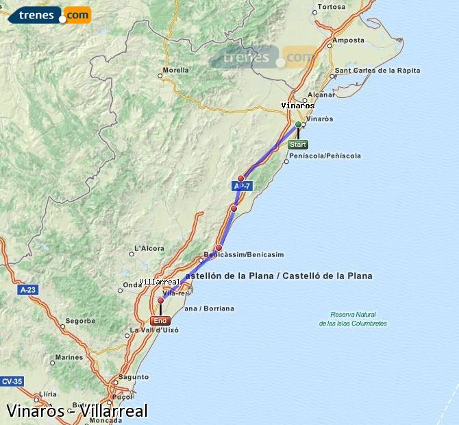 Enlarge map Trains Vinaròs to Villarreal