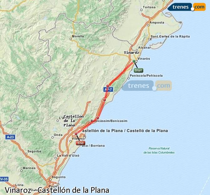 Ampliar mapa Trenes Vinaroz Castellón