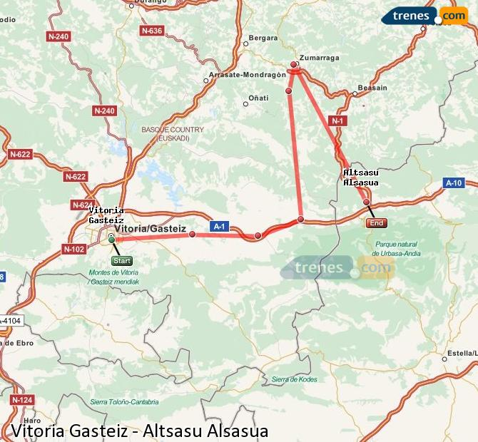 Ampliar mapa Trenes Vitoria Gasteiz Altsasu Alsasua