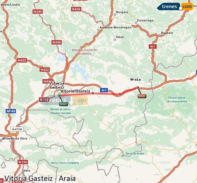 Enlarge map Trains Vitoria Gasteiz to Araia