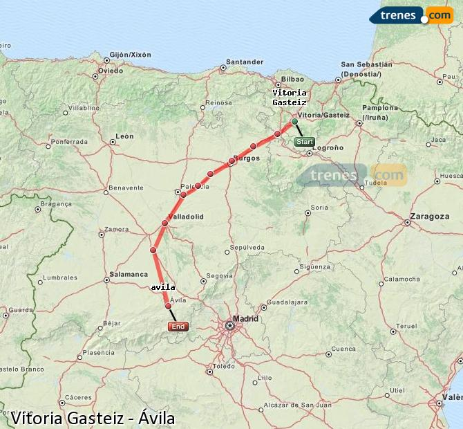 Enlarge map Trains Vitoria Gasteiz to Avila