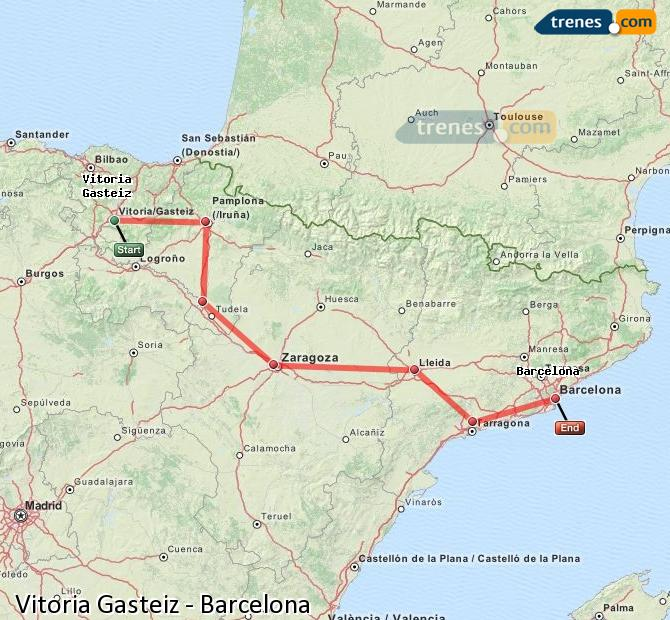 Enlarge map Trains Vitoria Gasteiz to Barcelona