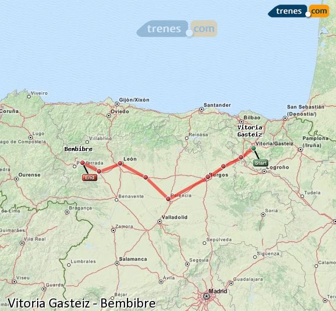Agrandir la carte Trains Vitoria Gasteiz Bembibre